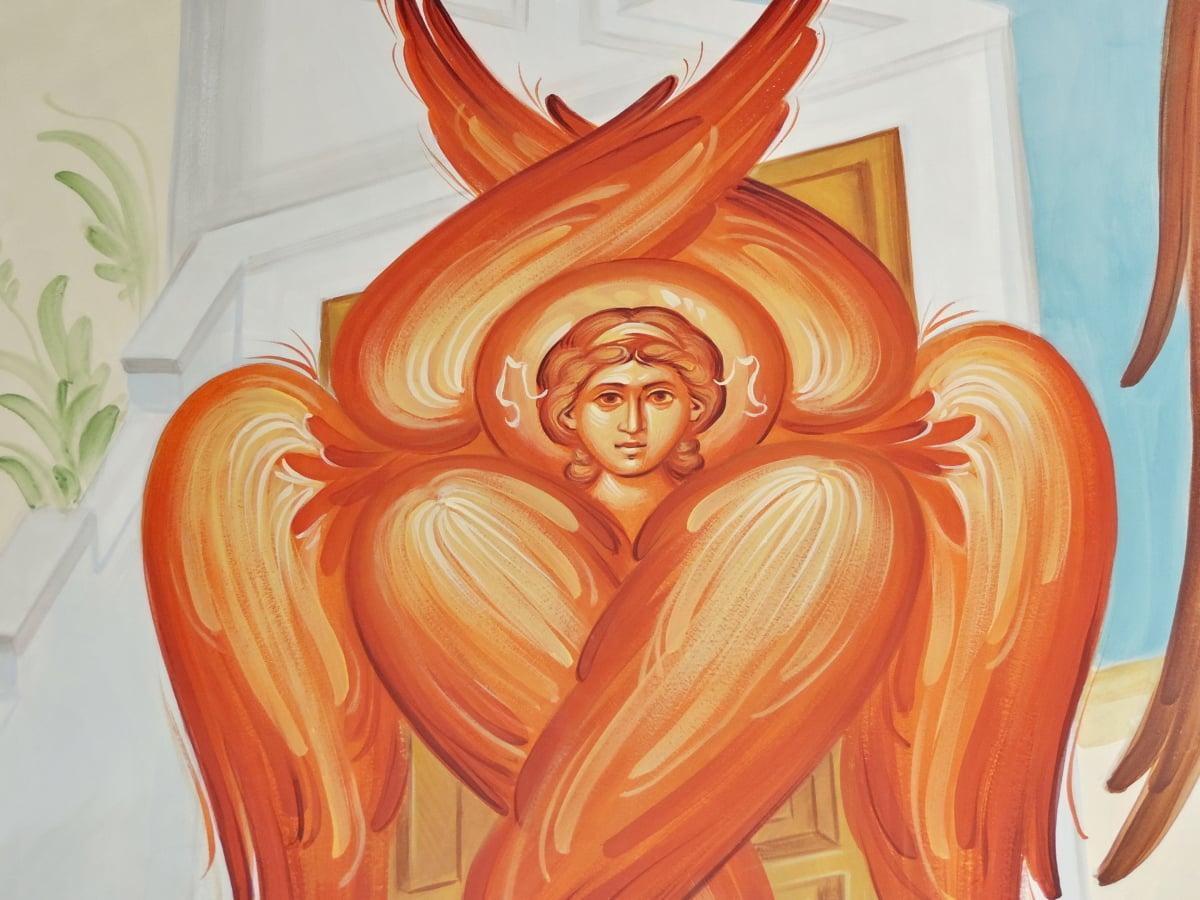 anděl, obličej, hlava, středověké, červená, křídla, umění, náboženství