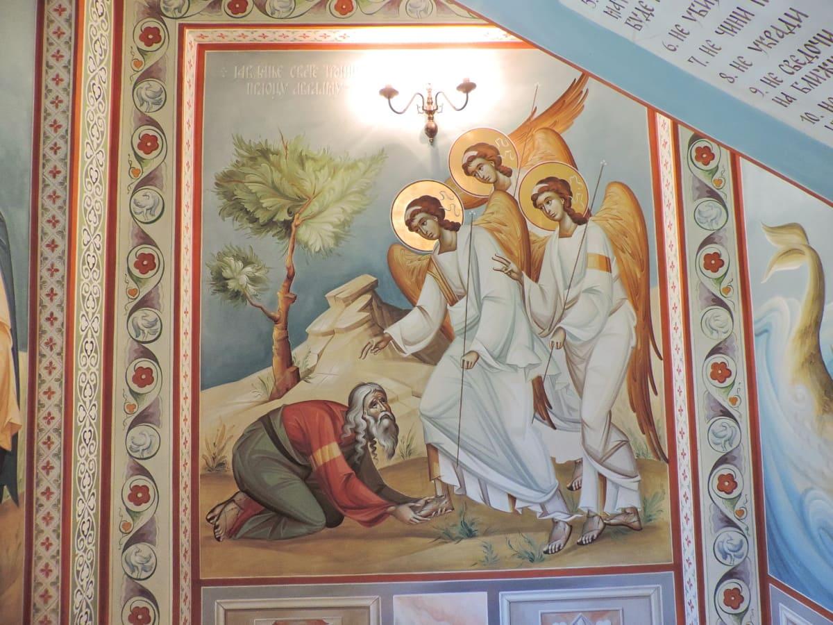живопис, религия, изкуство, хора, Свети, църква, илюстрация, декорация