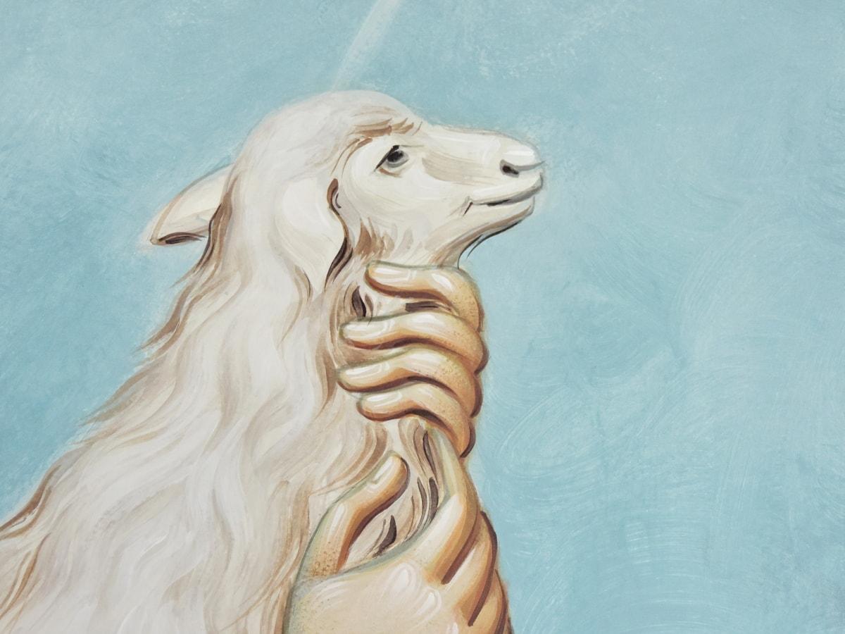 изящни изкуства, ръка, стенопис, овце, бяло, изкуство, хора, портрет