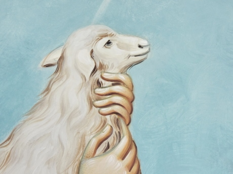 fine arts, hand, mural, sheep, white, art, people, portrait