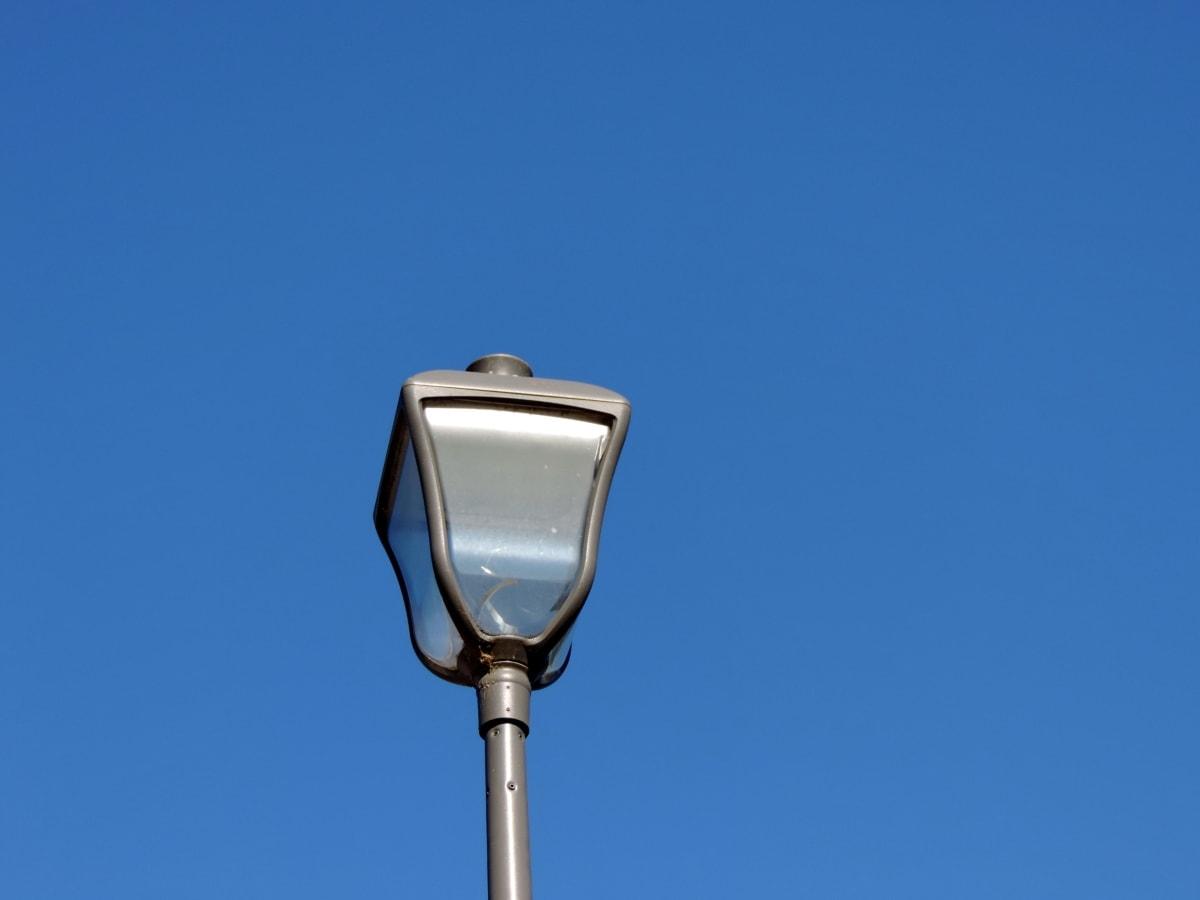 blå himmel, futuristisk, moderne, stål, lampe, udendørs, udstyr, elektricitet