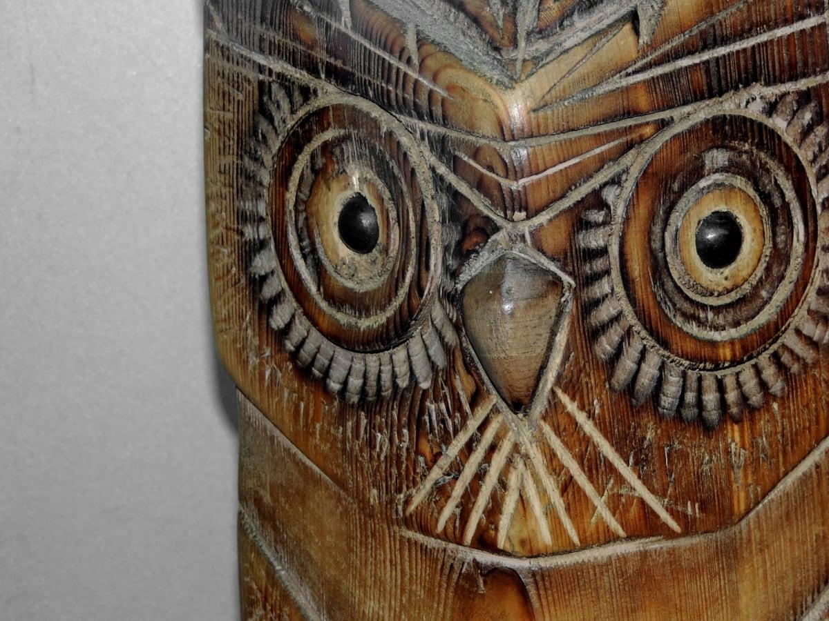 owl, sculpture, wood, wooden, decoration, pattern, design, upclose