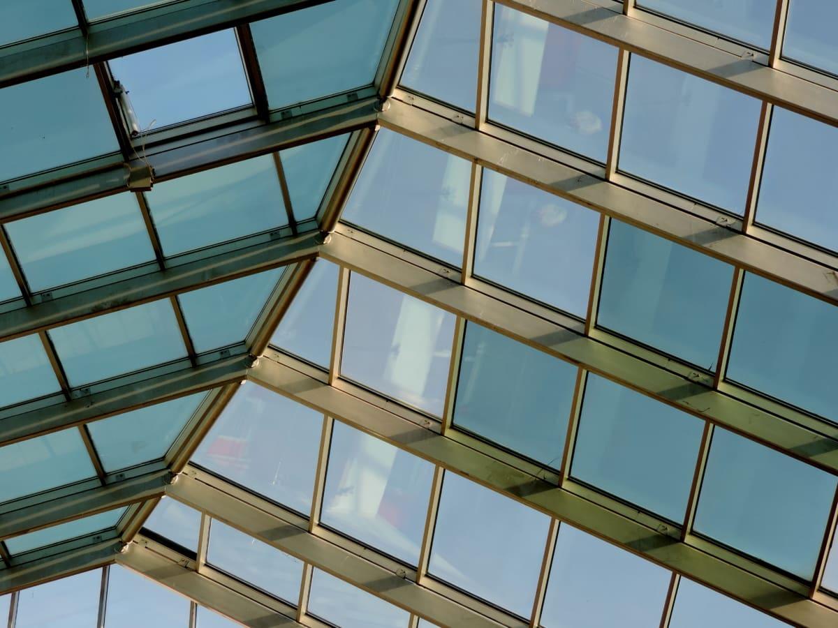 futuristické, sklo, střecha, střešní, okno, stavba, skleník, architektura