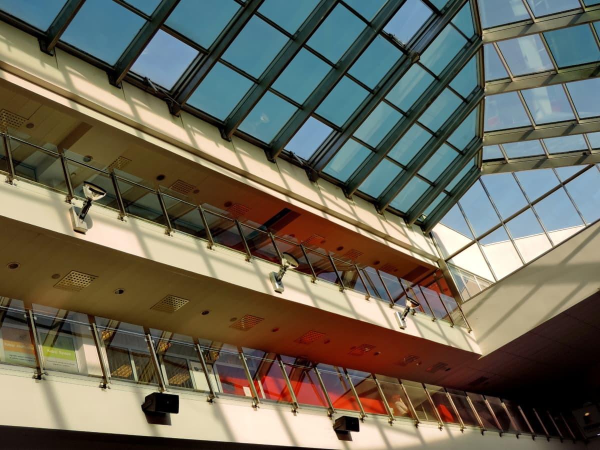 balcony, hallway, interior decoration, roof, architecture, modern, ceiling, window