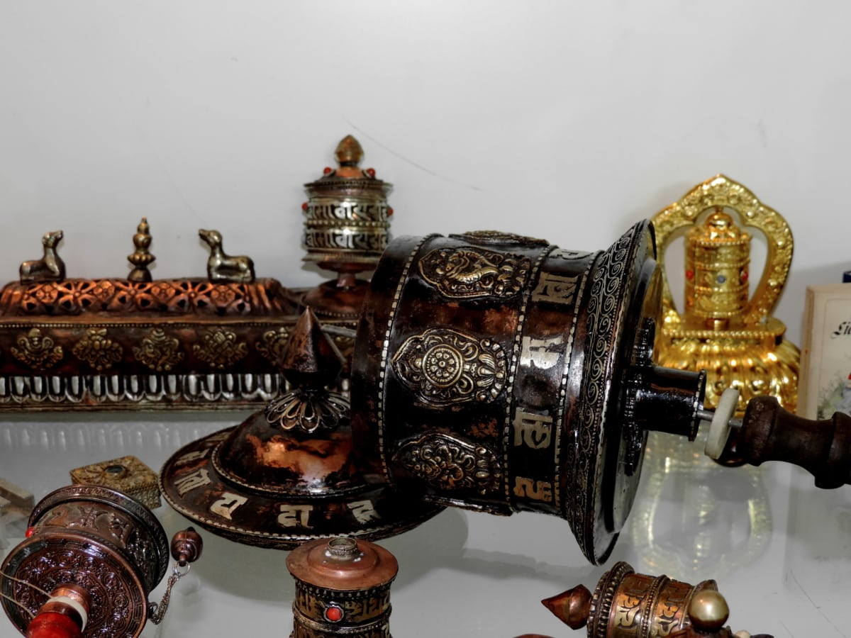 object, old, gold, brass, decoration, antique, traditional, container