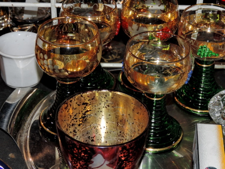 crystal, glasses, glassware, object, container, indoors, food, tea