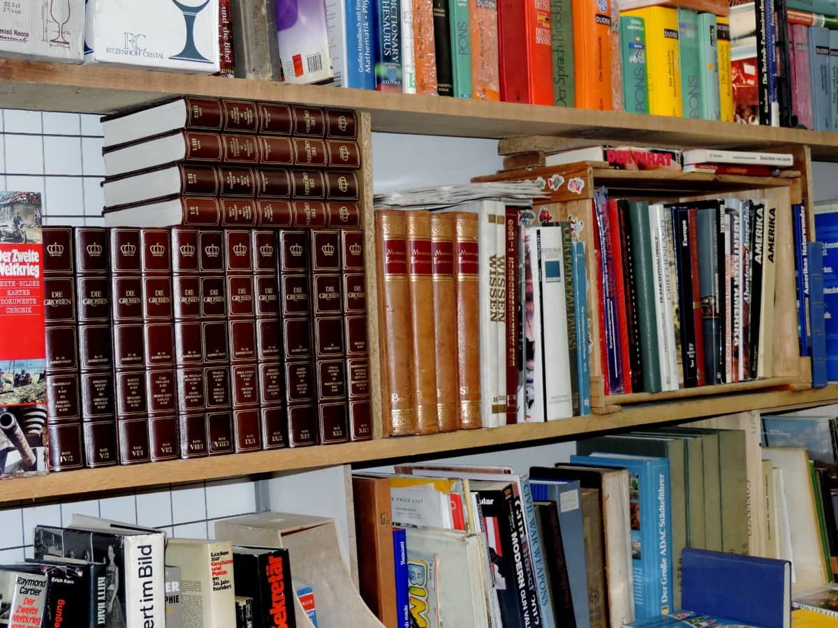 етажерка, библиотечка, книжарница, книжарница, книга, библиотеката, книги, колеж