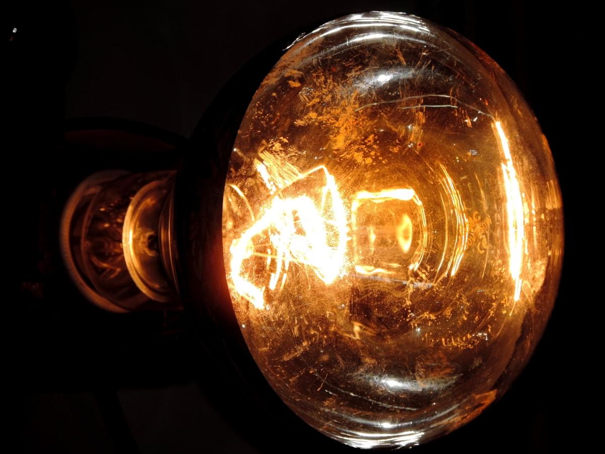 temnota, světlo, žárovka, lampa, drát, energii, tmavý, elektřina