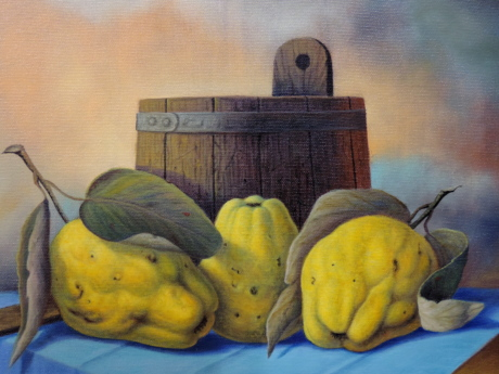 art, fine arts, gallery, painting, still life, Quince, group, color