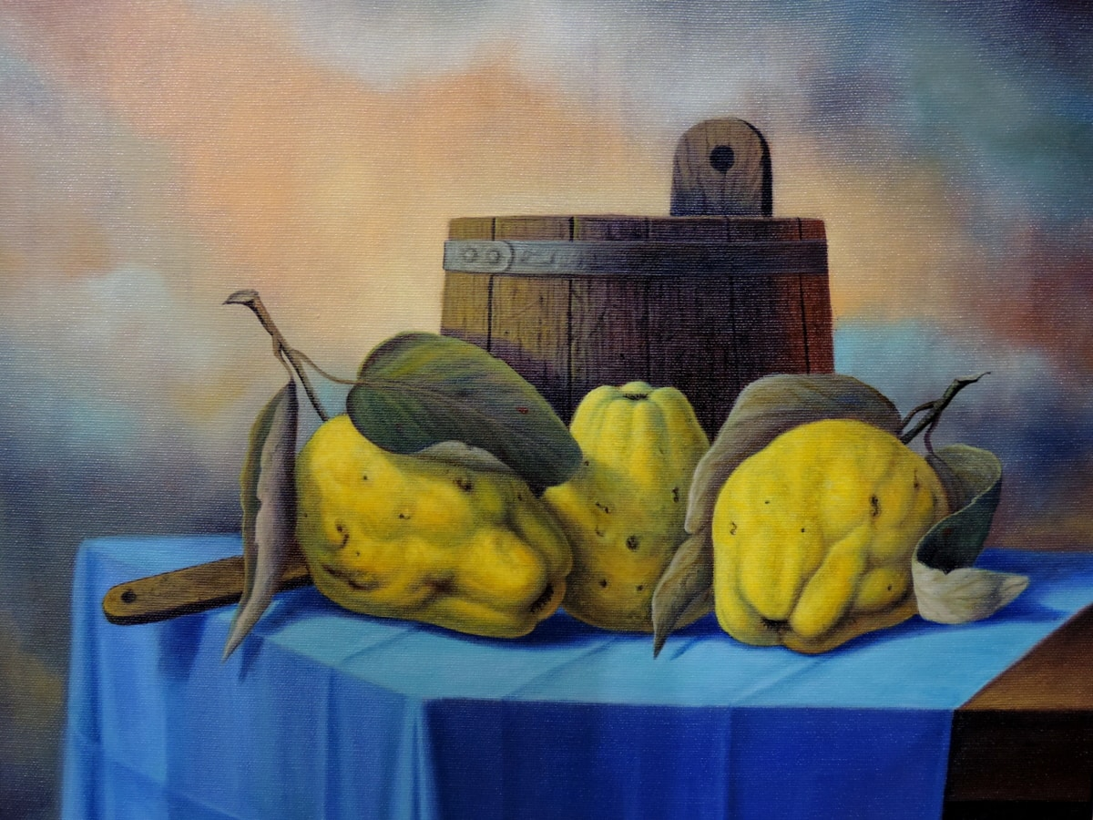 fine arts, gallery, painting, fruit, quince, produce, food, still life