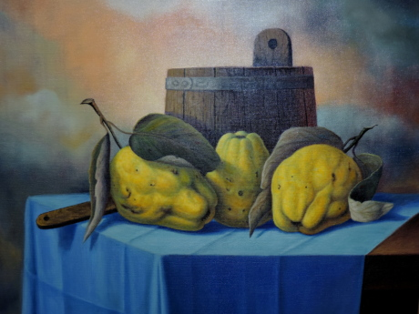 art, fine arts, gallery, painting, quince, still life, fruit, autumn