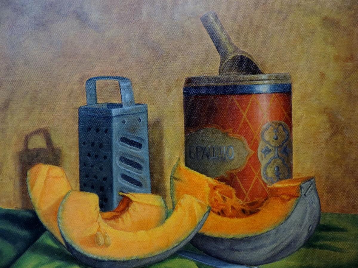 Kunst, Bildende Kunst, Malerei, Still-Leben, Kürbis, alt, Jahrgang, Abbildung