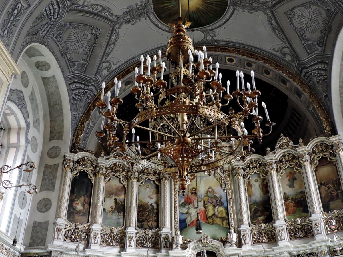 арка, полилей, църква, купол, вътрешна украса, православна, архитектура, олтар