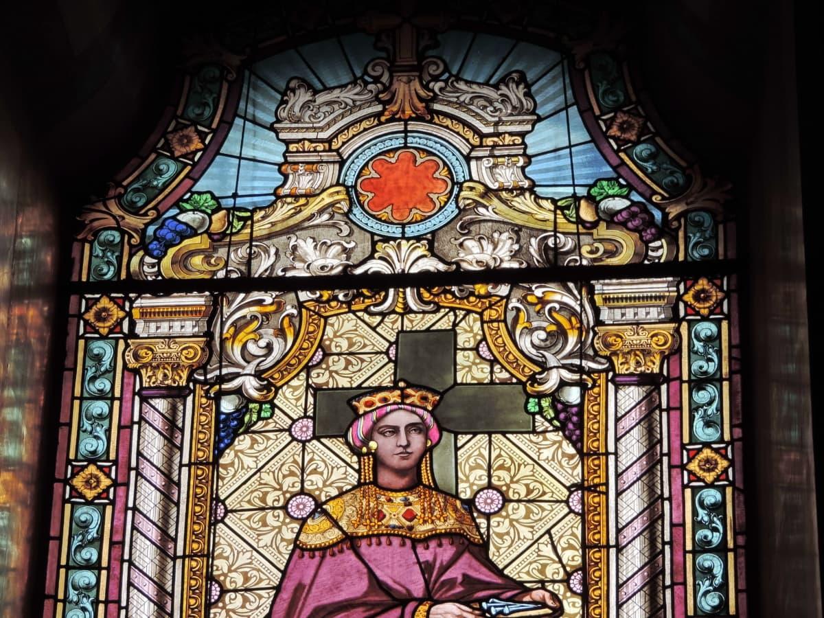 Όμορφο κορίτσι, πριγκίπισσα, Αγίου, τέχνη, χρωματισμένο γυαλί, που καλύπτει, θρησκευτικές, Εκκλησία