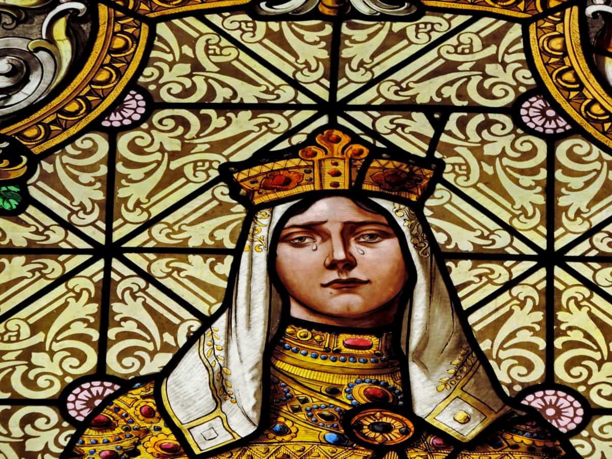 лицето, портрет, принцеса, тъга, стъклопис, сълза, църква, декорация