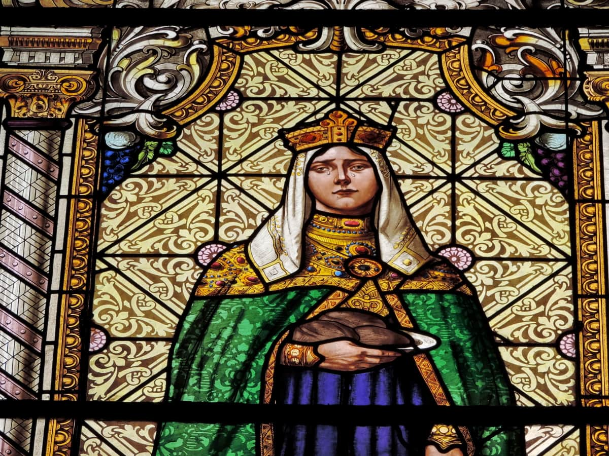 kingdom, queen, church, window, religion, art, stained glass, saint