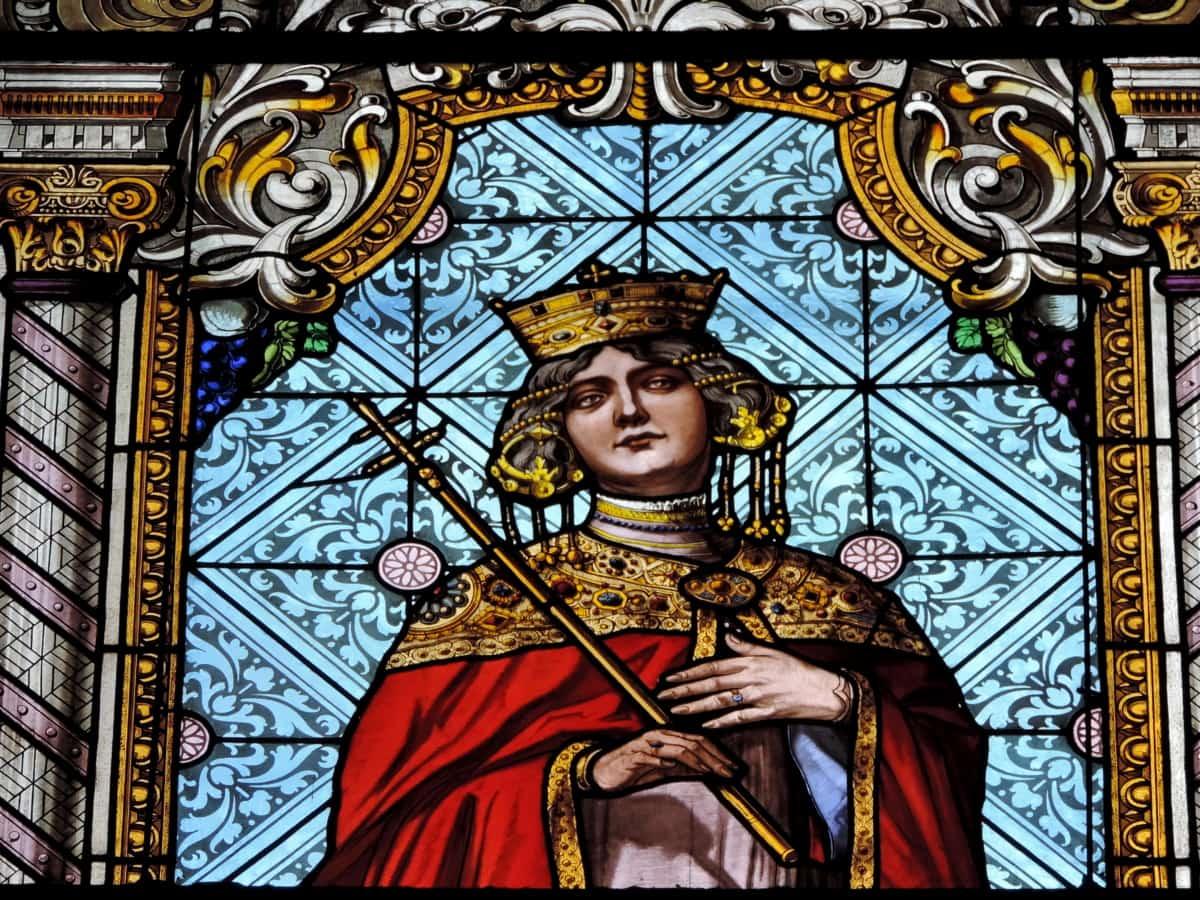 Koruna, královna, náboženství, umění, barevné sklo, kostel, dekorace, náboženské