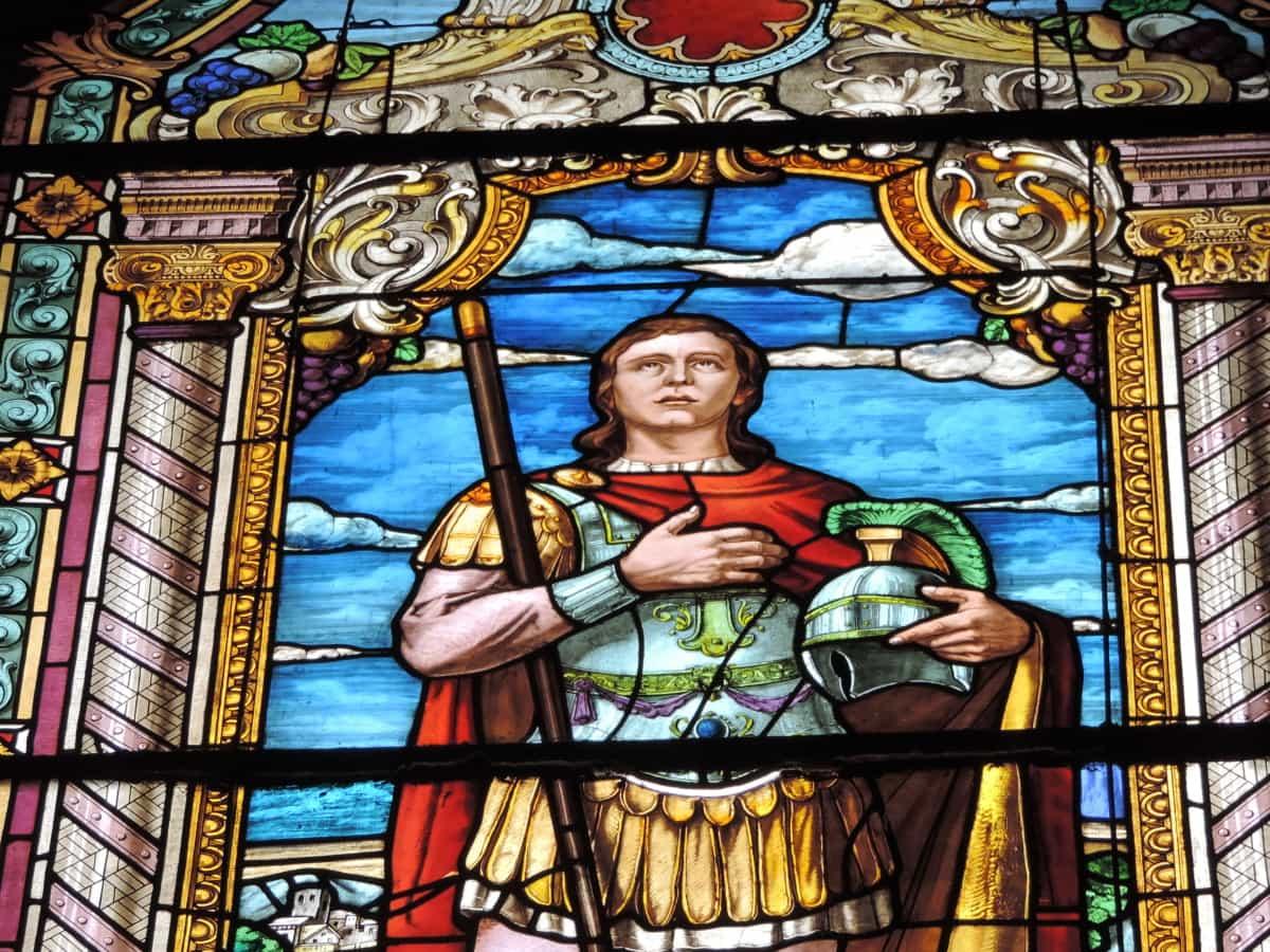 armor, helmet, knight, prince, stained glass, saint, religious, religion