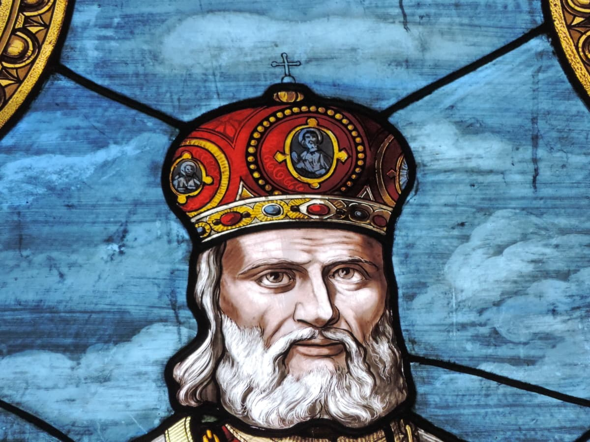 Król, portret, Witraże, sztuka, religia, wąsy, tradycyjne, Świątynia
