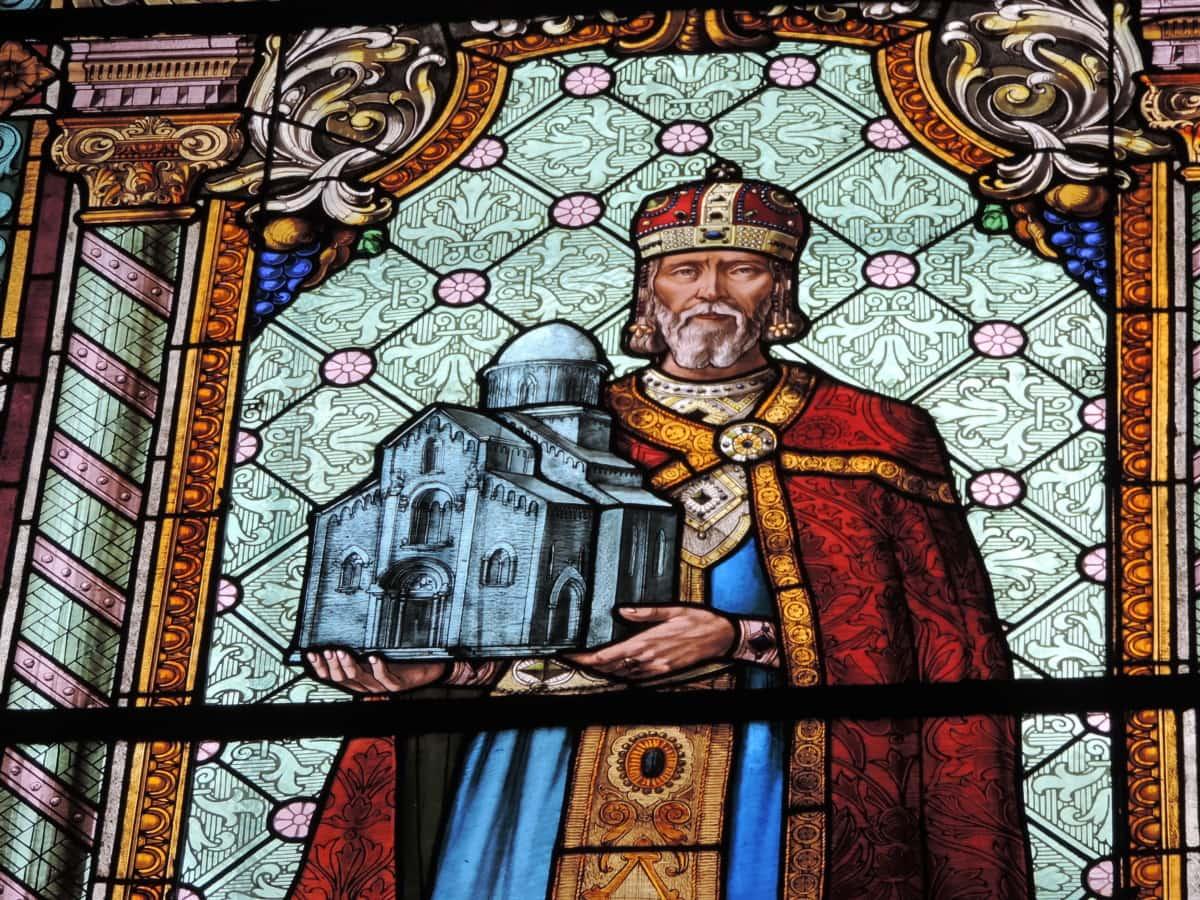 kostel, Král, okrasné, barevné sklo, umění, náboženství, náboženské, Svatý