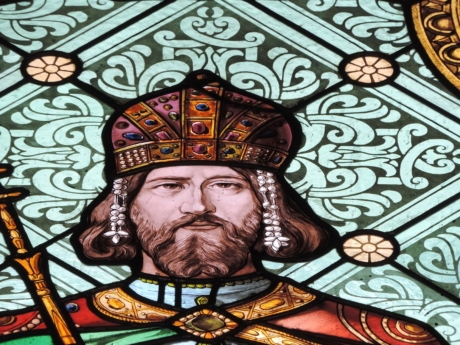 crown, face, handsome, prince, stained glass, art, religion, decoration