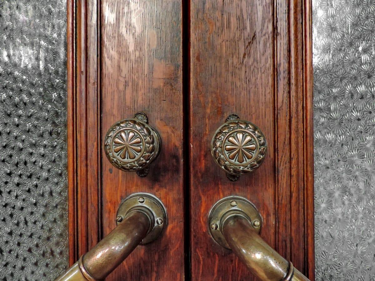 brass, front door, handmade, stained glass, wooden, device, handle, door