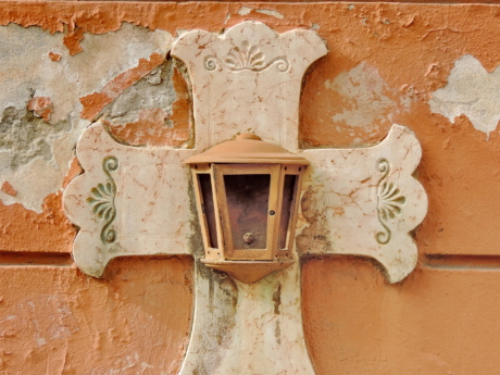 cross, gravestone, marble, old, wall, architecture, house, decoration