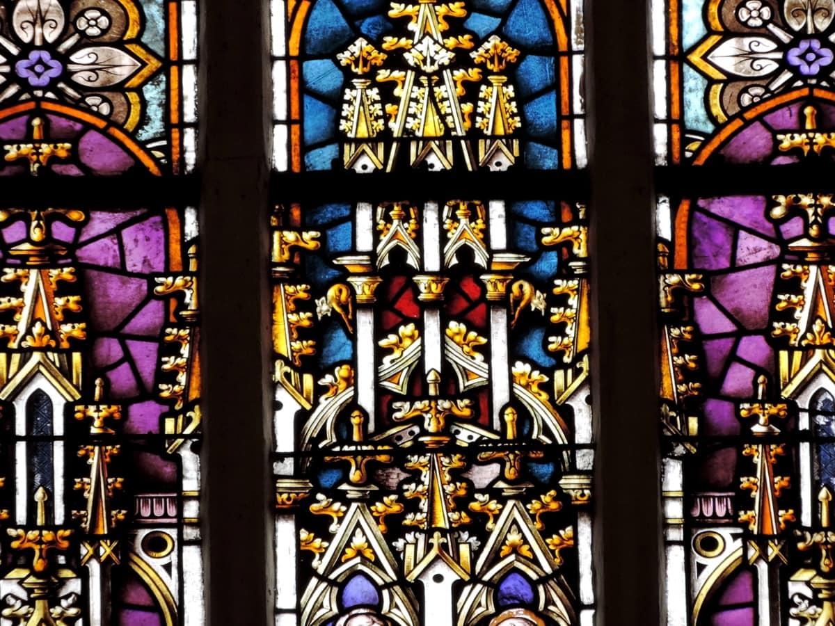 εσωτερικό, χρωματισμένο γυαλί, θρησκευτικές, θρησκεία, παράθυρο, τέχνη, εκκλησάκι, Πνευματικότητα