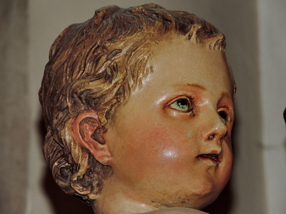 portret, twarz, ludzie, Rzeźba, sztuka, mężczyzna, religia, Widok z boku