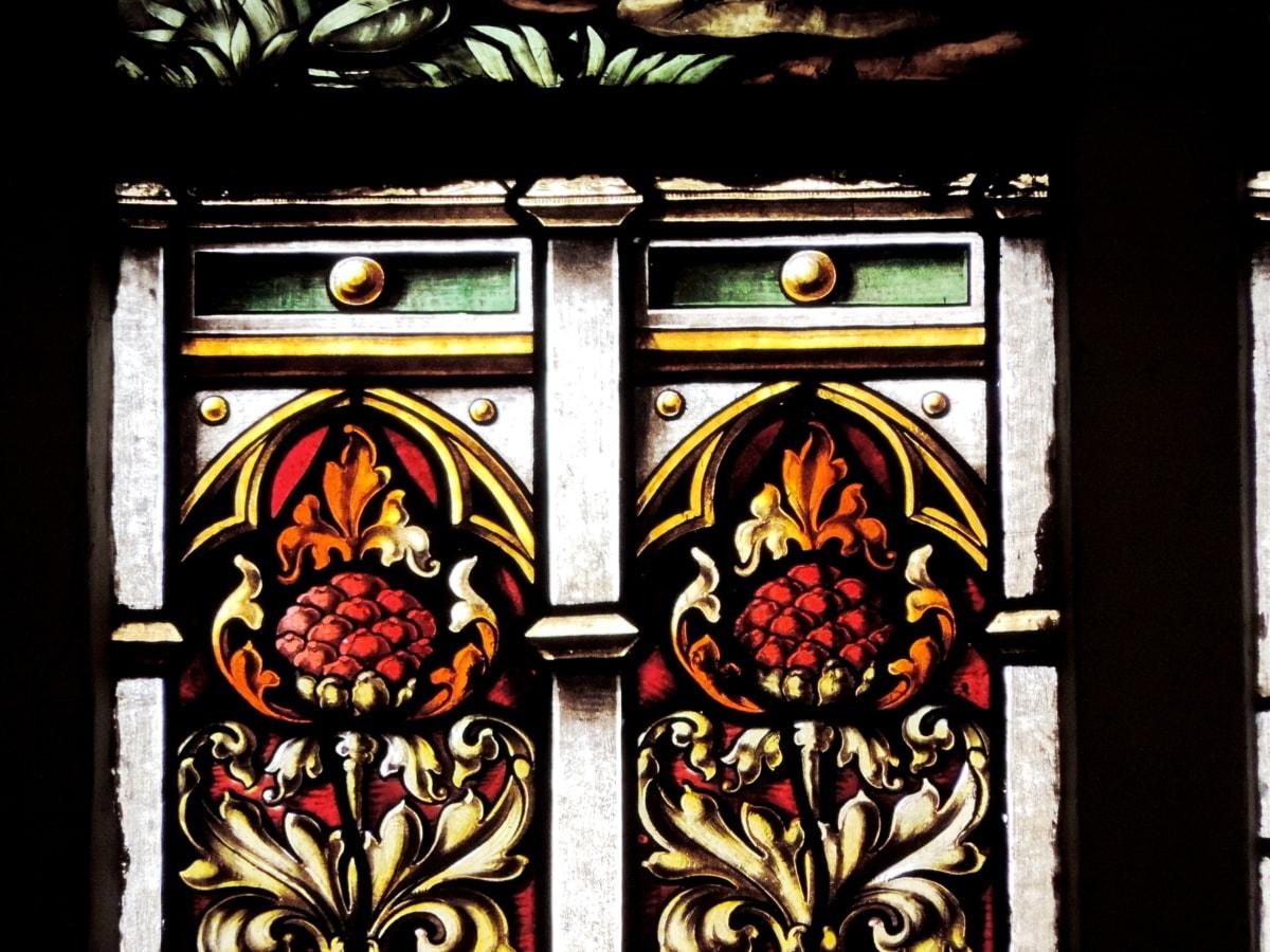 gotiska, målat glas, konst, fönster, ramen, dekoration, Antik, kyrkan