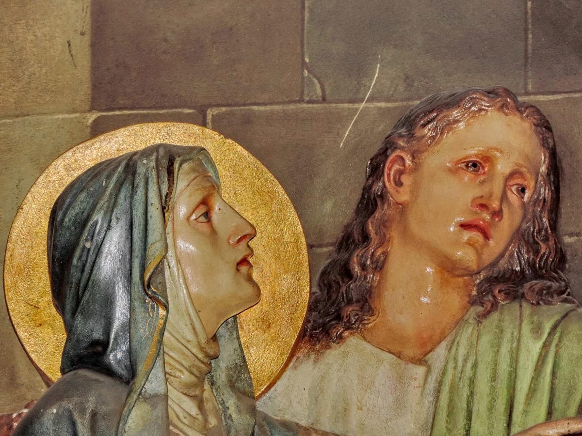 キリスト教, キリスト教, 母, サン, 女性, 人々, 彫刻, アート
