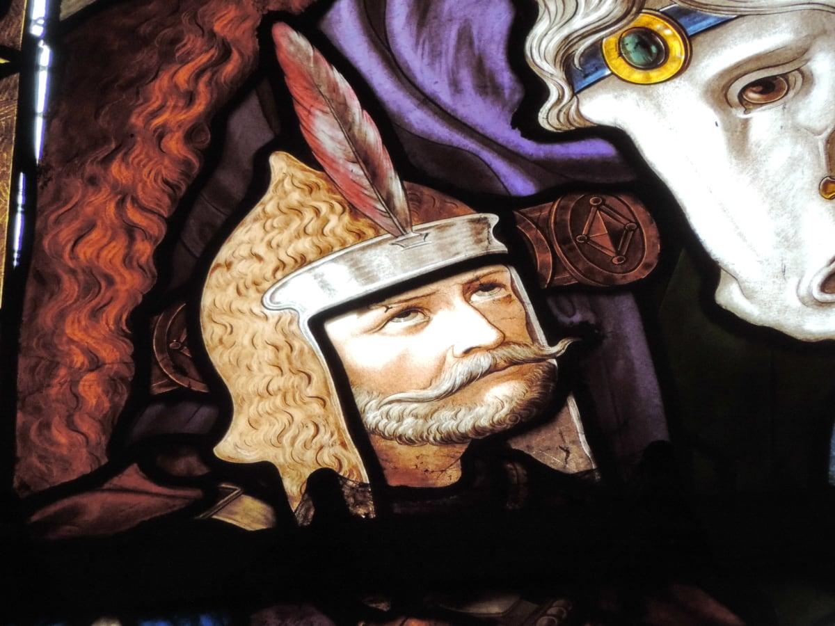 кон, рицар, средновековна, бяло, изкуство, религия, живопис, портрет