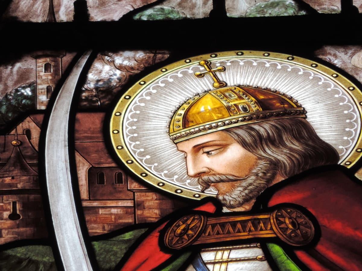 krone, hjelm, heraldikk, kongen, stående, helgen, religion, kunst