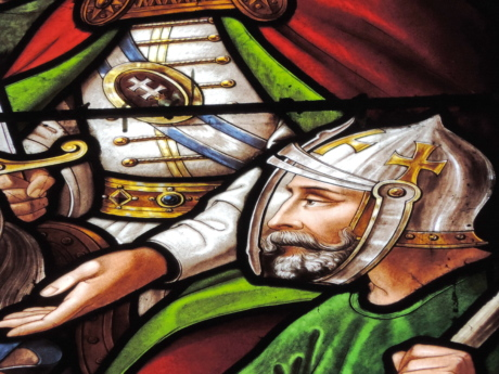 helmet, knight, portrait, art, religion, painting, stained glass, color
