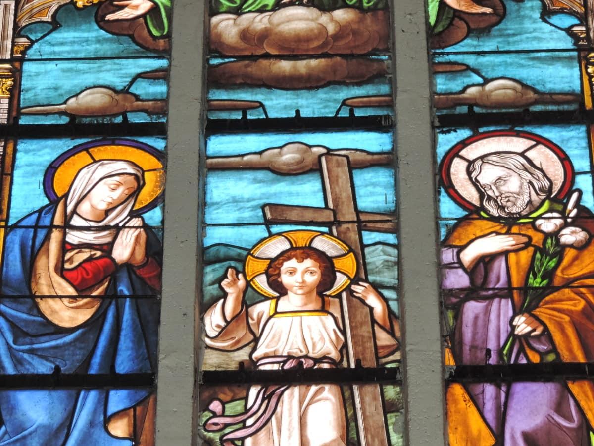 religious, prayer, stained glass, art, religion, saint, church, spirituality