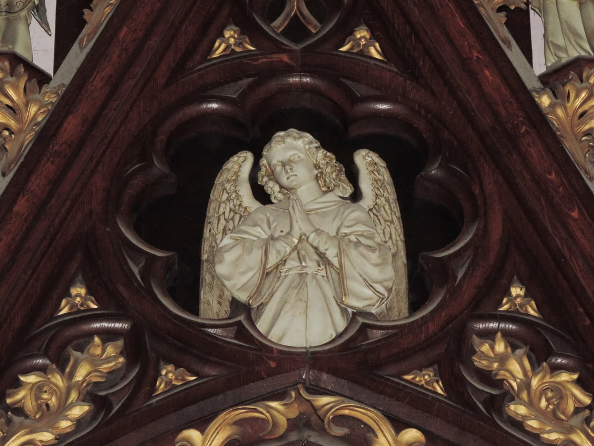 altar, angel, carving, cathedral, catholic, pretty girl, decoration, art