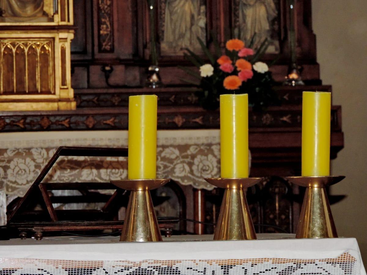 свещ, свещи, жълто, закрито, религия, стар, дървен материал, Антик