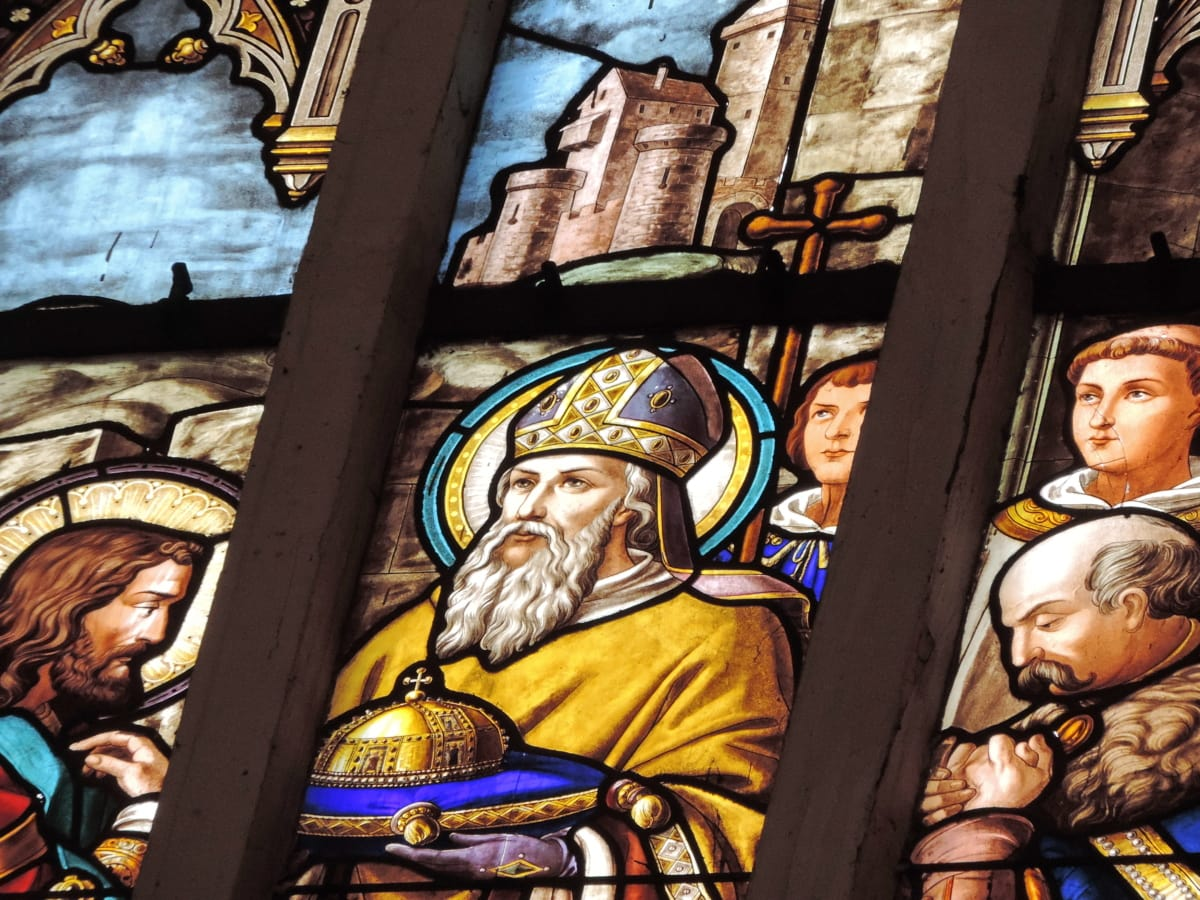 castle, king, priest, worship, religion, church, stained glass, religious
