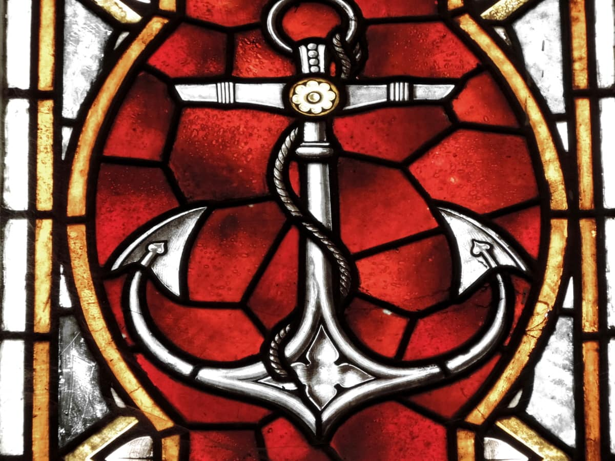 anchor, medieval, stained glass, decoration, religion, art, symbol, spirituality