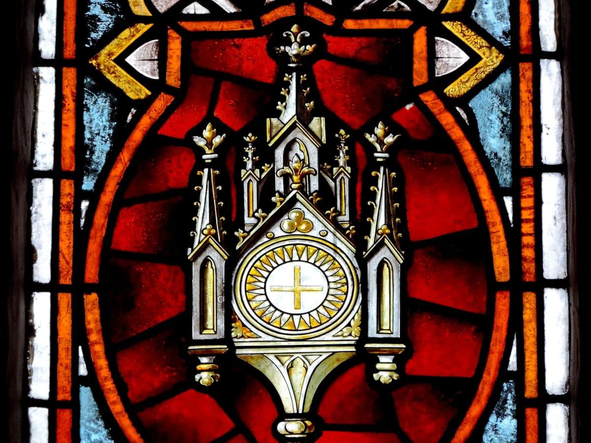 Glassmaleri, religion, kirke, skjold, arkitektur, religiøse, kunst, vinduet