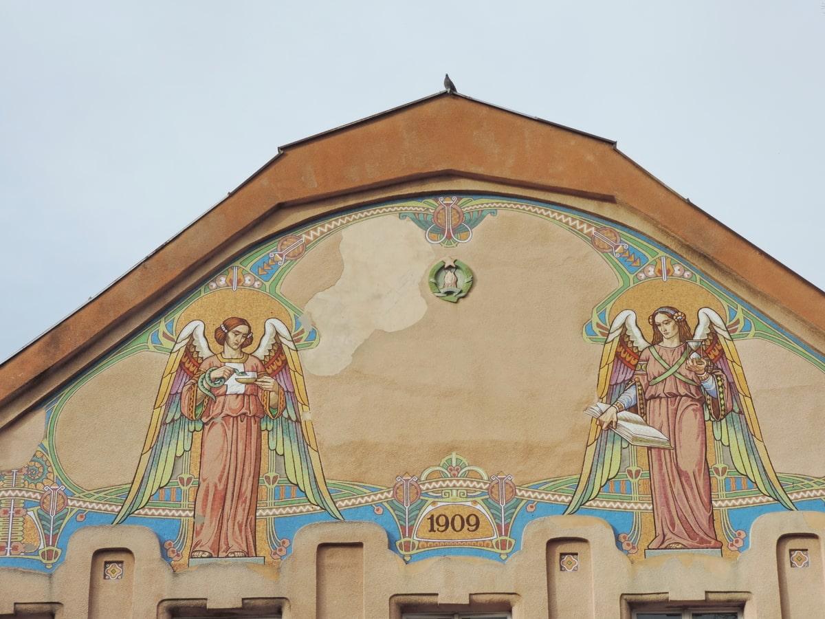 πρόσοψη, μωσαϊκό, θρησκεία, αρχιτεκτονική, κτίριο, τέχνη, σε εξωτερικούς χώρους, γλυπτική