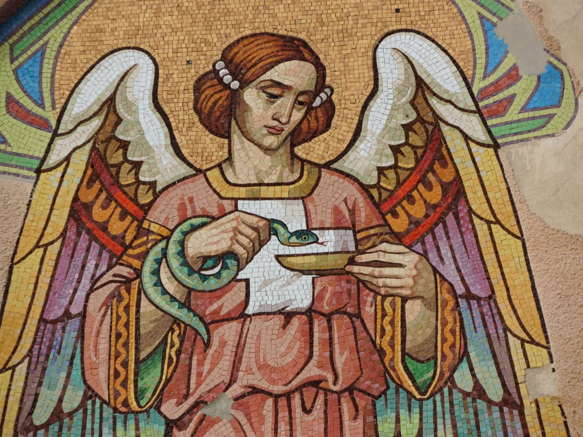 angel, colorful, facade, saint, snake, wings, mosaic, art
