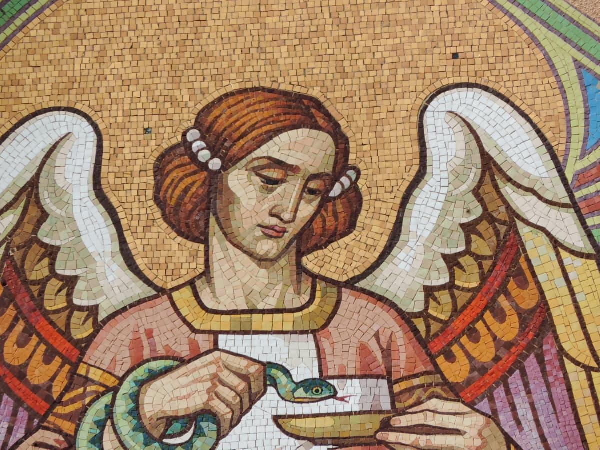angel, culture, mosaic, woman, art, old, religion, vintage
