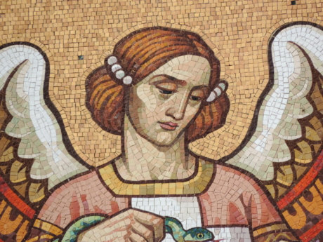 angel, handmade, mosaic, pretty girl, saint, woman, art, old
