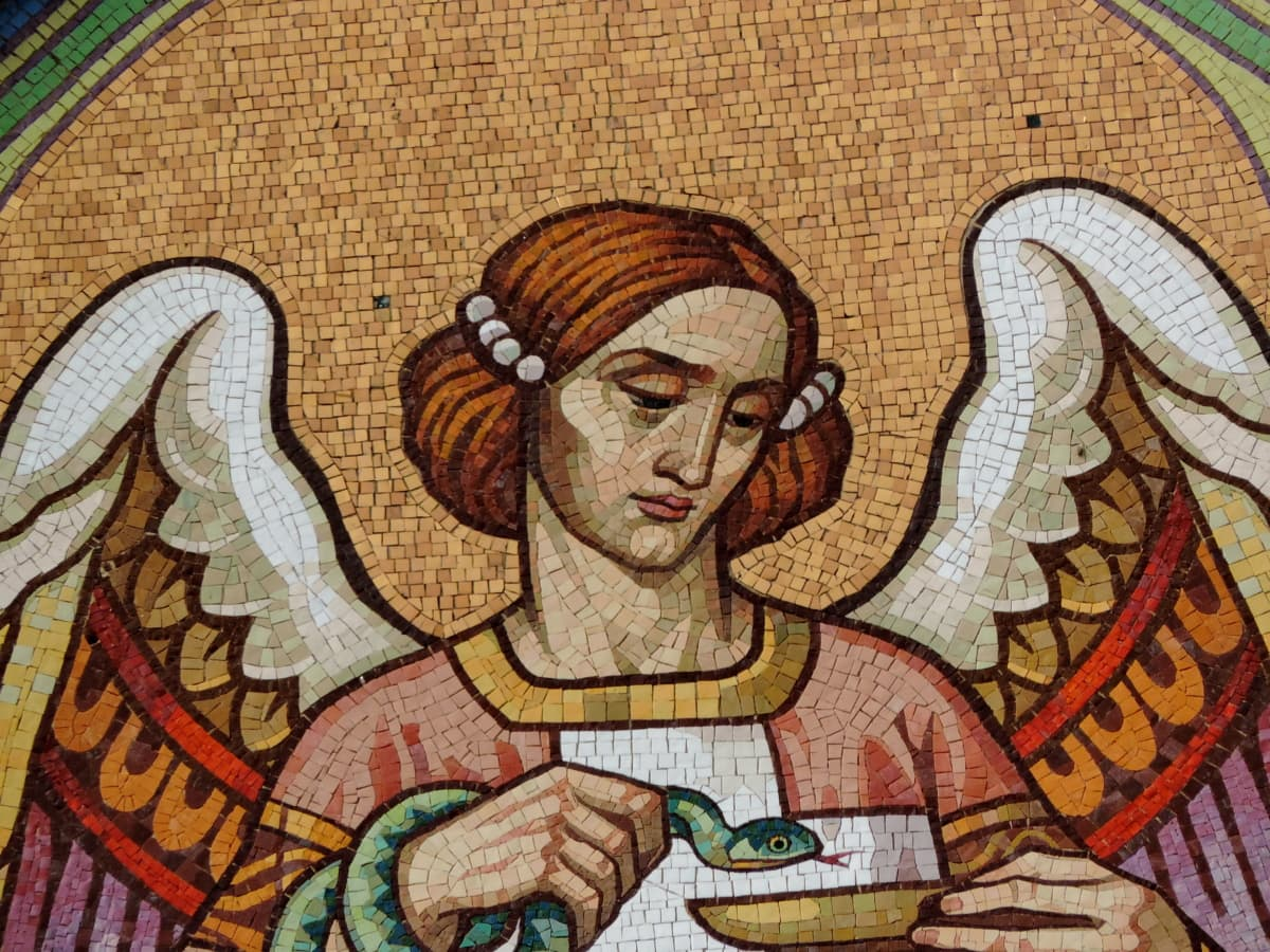 angel, handmade, snake, woman, mosaic, art, culture, old