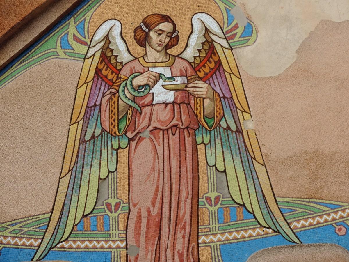 anděl, mozaika, umění, náboženství, Barva, ilustrace, dekorace, umělecké