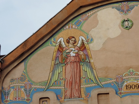angel, facade, rooftop, art, painting, architecture, decoration, old