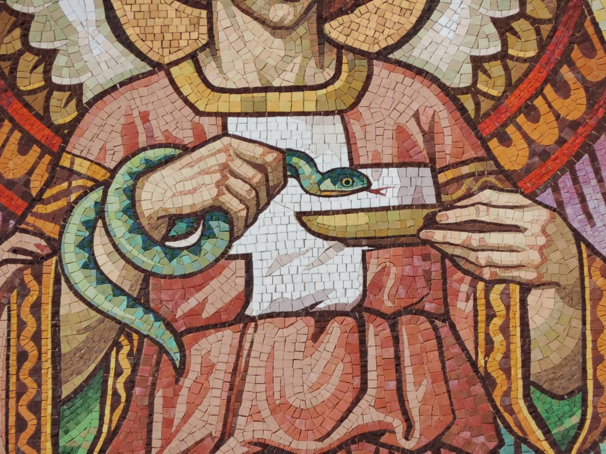angel, mosaic, snake, art, religion, painting, wall, culture