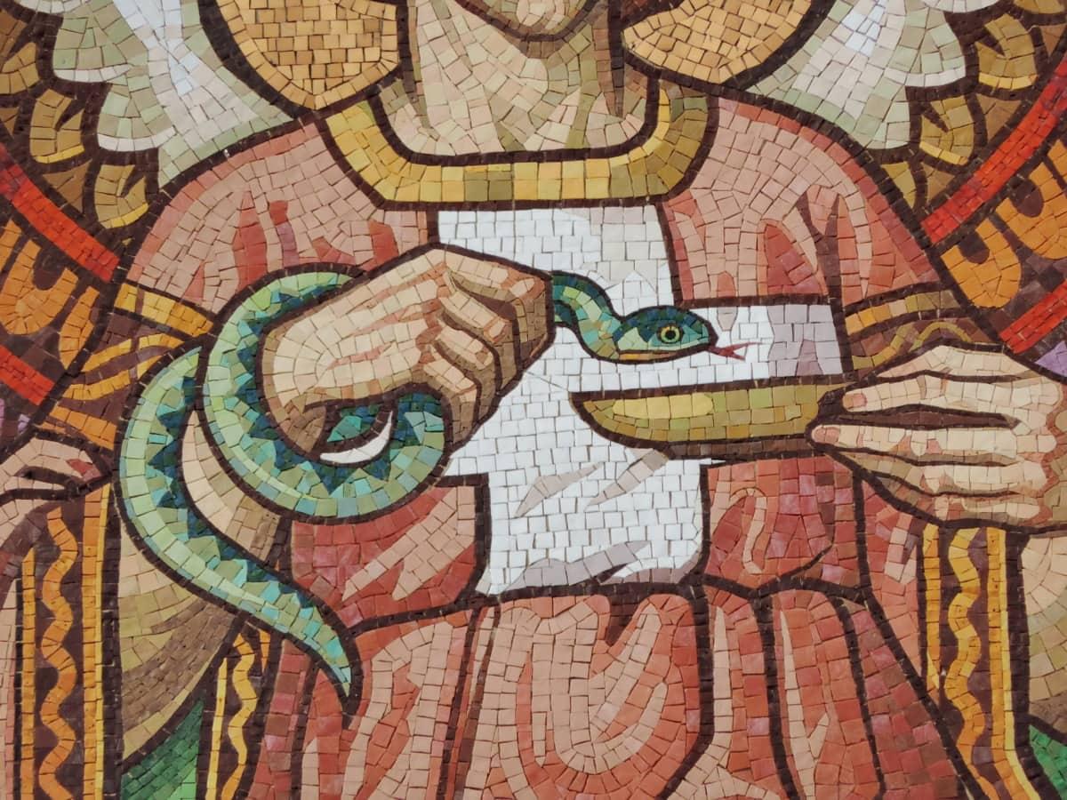 anjo, Garota bonita, cobra, asas, mosaico, parede, cultura, arte