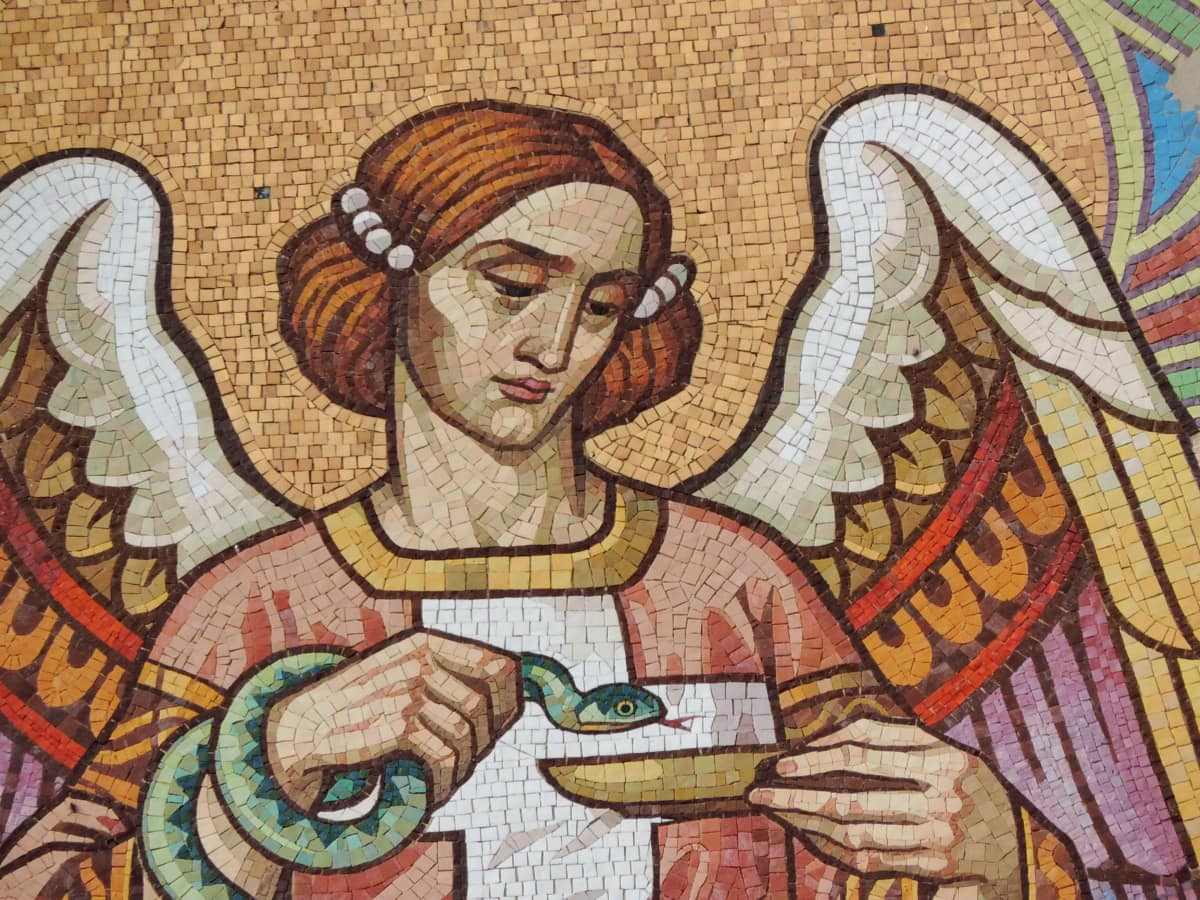 angel, pretty girl, art, mosaic, decoration, painting, culture, old